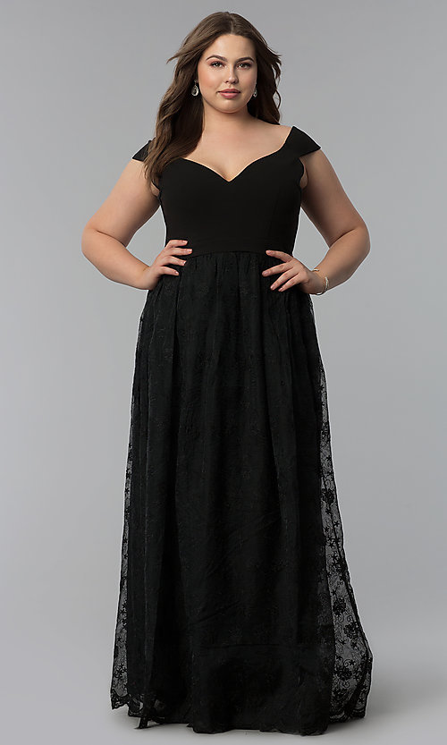 Image of v-neck off-the-shoulder plus-size long prom dress. Style: LP-24676P Detail Image 1