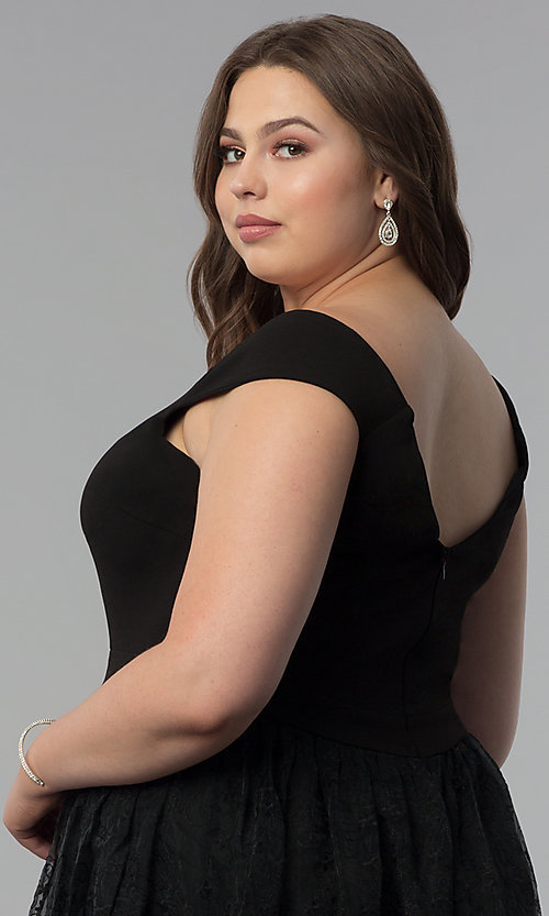 Image of v-neck off-the-shoulder plus-size long prom dress. Style: LP-24676P Detail Image 3