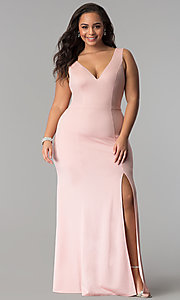 Image of side-slit deep-v-neck plus-size mermaid prom dress. Style: LP-24711P Front Image