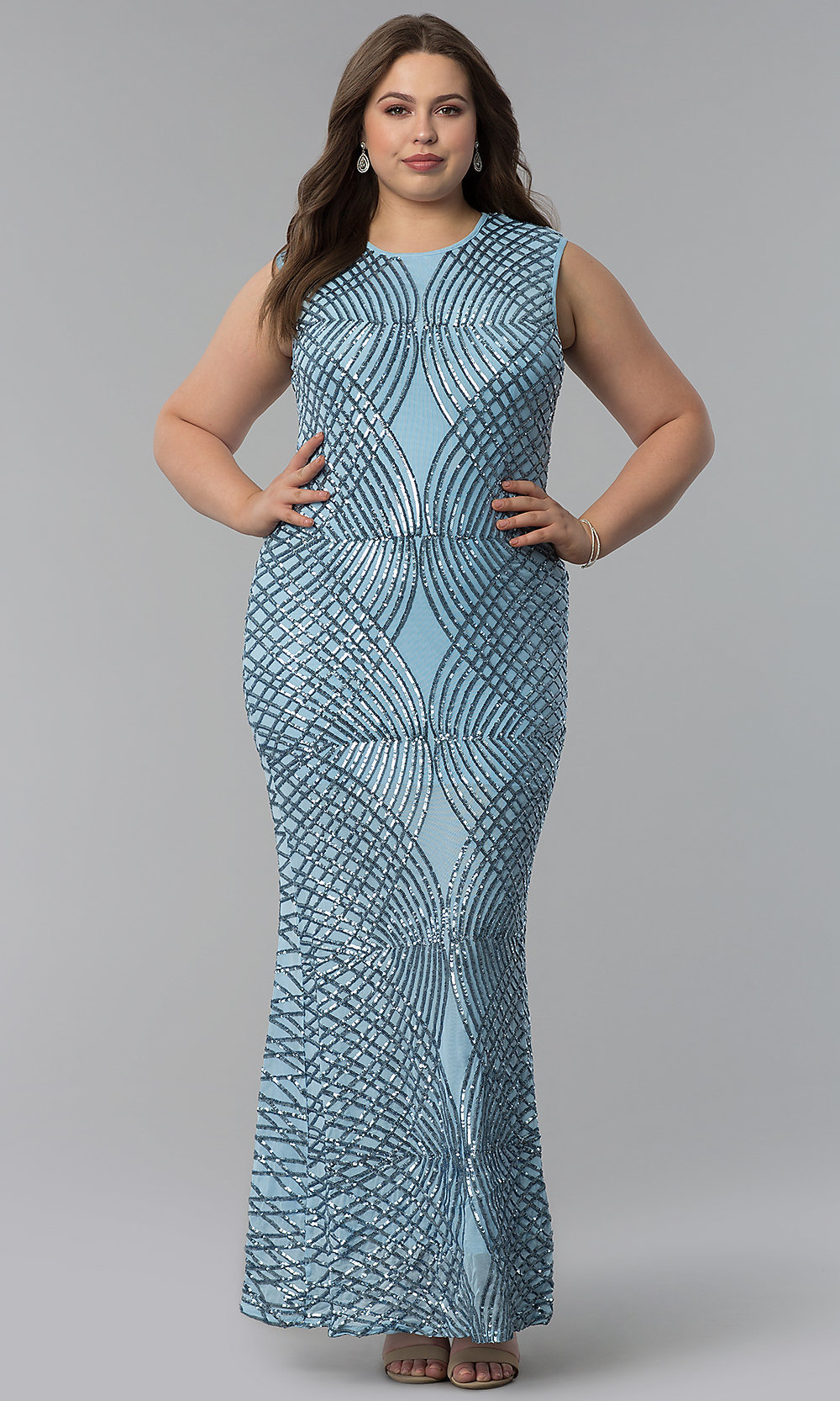 Art-Deco-Inspired Plus-Size Long Prom Dress - PromGirl