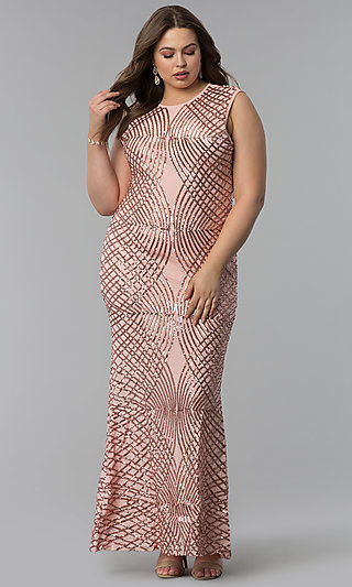 Long Art-Deco-Inspired Plus-Size Prom Dress