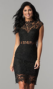 Black Short Lace Party Dress with Sheer Waist