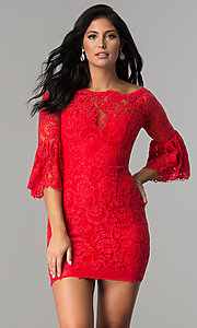 Short Red Lace Party Dress with Sleeves