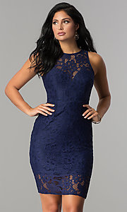 Image of short fitted high-neck lace party dress. Style: LP-24616 Front Image