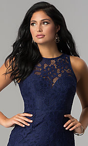 Image of short fitted high-neck lace party dress. Style: LP-24616 Detail Image 1