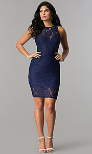 Image of short fitted high-neck lace party dress. Style: LP-24616 Detail Image 2