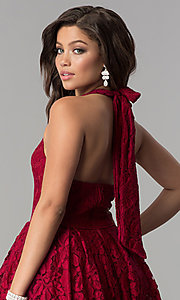 Image of a-line high-low halter lace party dress with v-neck. Style: LP-24966 Detail Image 2