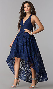 Lace High-Low V-Neck Halter Party Dress