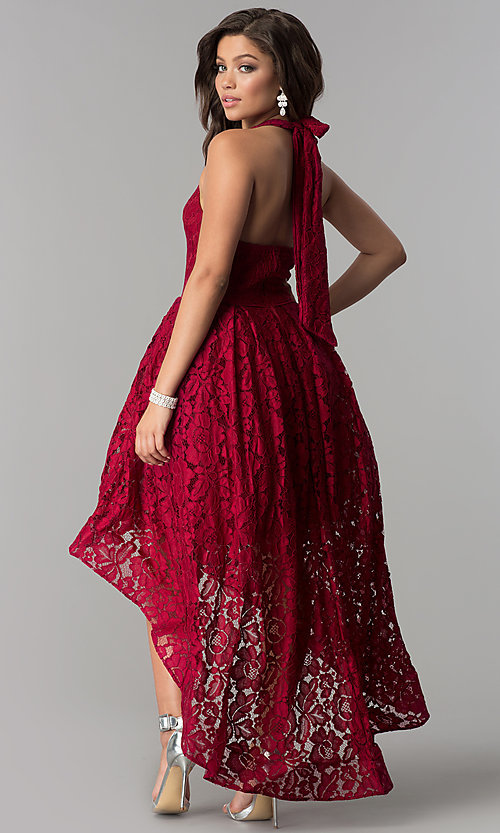 Image of a-line high-low halter lace party dress with v-neck. Style: LP-24966 Back Image