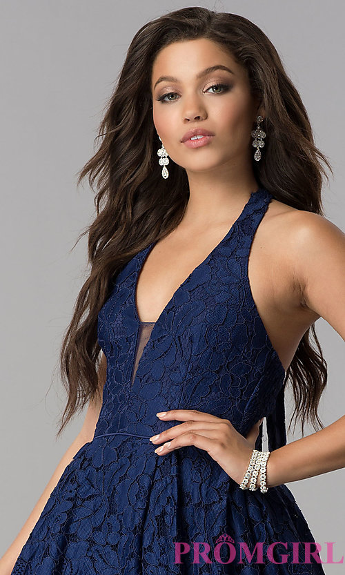 Image of a-line high-low halter lace party dress with v-neck. Style: LP-24966 Detail Image 1