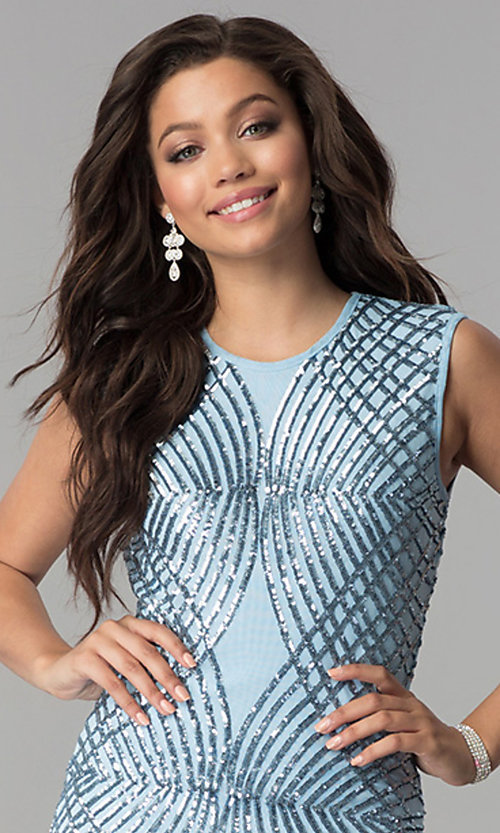 Image of long blue formal dress with sequin design. Style: LP-27109 Detail Image 1