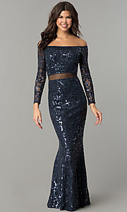 Image of long navy blue sequin off-the-shoulder prom dress. Style: MB-7127 Front Image
