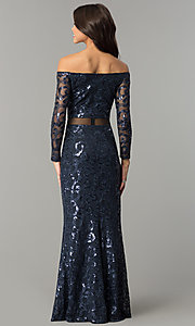Image of long navy blue sequin off-the-shoulder prom dress. Style: MB-7127 Back Image