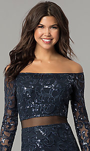 Image of long navy blue sequin off-the-shoulder prom dress. Style: MB-7127 Detail Image 1
