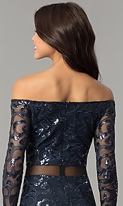 Image of long navy blue sequin off-the-shoulder prom dress. Style: MB-7127 Detail Image 3