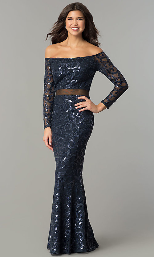 Image of long navy blue sequin off-the-shoulder prom dress. Style: MB-7127 Detail Image 2