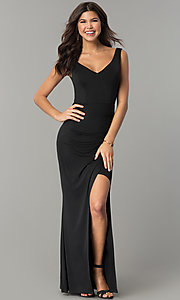 Long V-Neck Ruched-Back Black Prom Dress