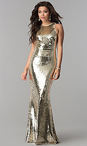 Image of long sequin mermaid formal prom dress. Style: LP-24777 Detail Image 3