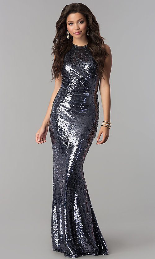 Image of long sequin mermaid formal prom dress. Style: LP-24777 Detail Image 1