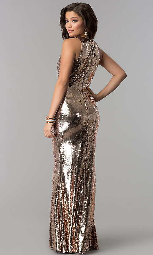 Image of long sequin mermaid formal prom dress. Style: LP-24777 Back Image