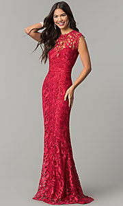 Image of long embroidered-lace formal wedding-guest dress. Style: LP-24504 Detail Image 1
