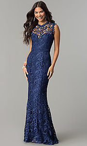 Image of long embroidered-lace formal wedding-guest dress. Style: LP-24504 Detail Image 2