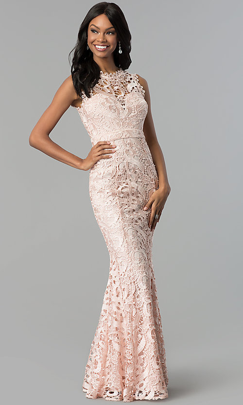 Image of long embroidered-lace formal wedding-guest dress. Style: LP-24504 Detail Image 3