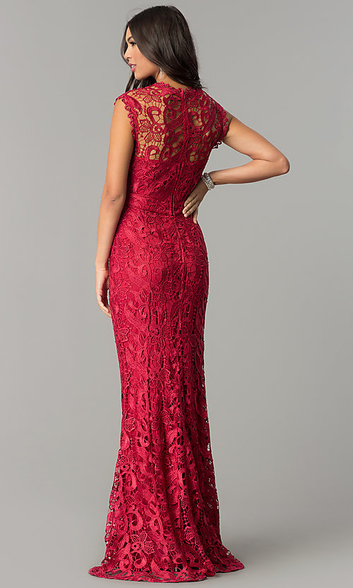 Image of long embroidered-lace formal wedding-guest dress. Style: LP-24504 Back Image