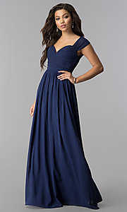Long Ruched Sweetheart Bodice Wedding-Guest Dress