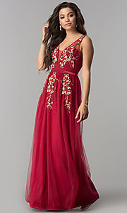 Image of floral-embroidered deep v-neck long tulle prom dress. Style: LP-24865 Front Image