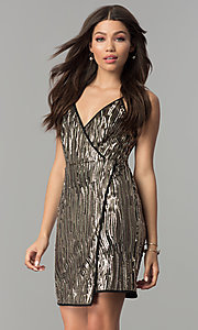Gold Sequined Mock-Wrap Holiday Party Dress