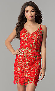 Image of short red lace v-neck holiday party dress. Style: MT-8309 Front Image