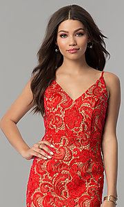 Image of short red lace v-neck holiday party dress. Style: MT-8309 Detail Image 1