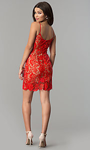 Image of short red lace v-neck holiday party dress. Style: MT-8309 Detail Image 3