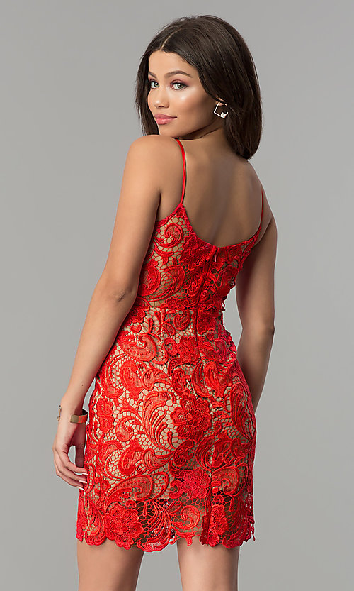 Red lace v neck dress