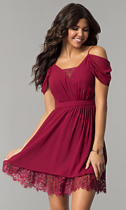Image of berry red holiday party dress with draped sleeves. Style: MT-8924 Front Image