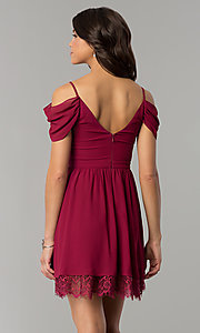 Image of berry red holiday party dress with draped sleeves. Style: MT-8924 Back Image