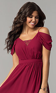 Image of berry red holiday party dress with draped sleeves. Style: MT-8924 Detail Image 1