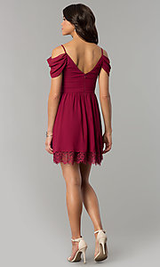 Image of berry red holiday party dress with draped sleeves. Style: MT-8924 Detail Image 3