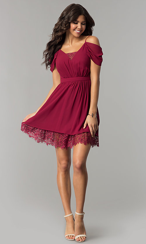 Image of berry red holiday party dress with draped sleeves. Style: MT-8924 Detail Image 2
