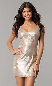 Image of floral-embroidered short gold sequin party dress. Style: MT-8957 Front Image