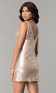 Image of floral-embroidered short gold sequin party dress. Style: MT-8957 Back Image