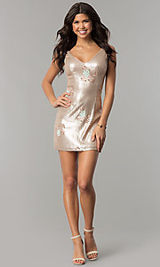 Image of floral-embroidered short gold sequin party dress. Style: MT-8957 Detail Image 2