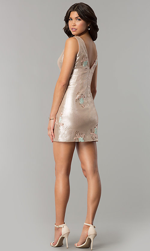 Image of floral-embroidered short gold sequin party dress. Style: MT-8957 Detail Image 3