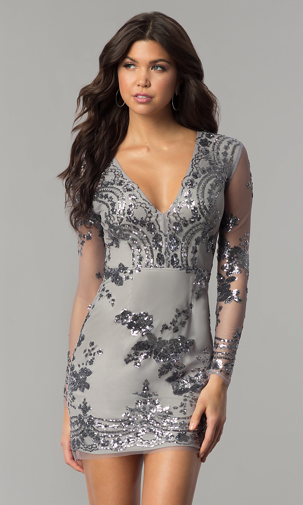 Short Silver Long-Sleeve Holiday Party Dress- PromGirl