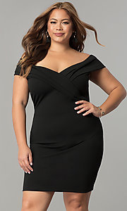 Image of short off-the-shoulder plus-size sheath party dress. Style: SY-IXD5148VP Front Image