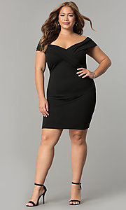 Image of short off-the-shoulder plus-size sheath party dress. Style: SY-IXD5148VP Detail Image 1