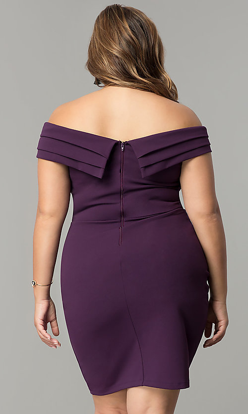 Image of short off-the-shoulder plus-size sheath party dress. Style: SY-IXD5148VP Back Image