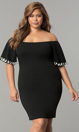 Short-Sleeve Off-the-Shoulder Plus-Size Party Dress