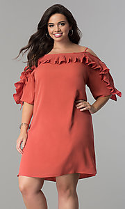 Off-the-Shoulder Short Plus-Size Party Dress